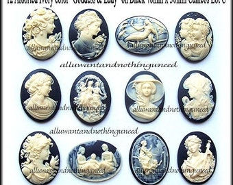 12 Asst. Styles Ivory color on Black 40mm x 30mm Resin GODDESS  CAMEOS LOT C for Making Costume Jewelry