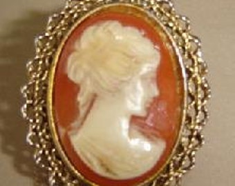 Cameo brooch with a peach background
