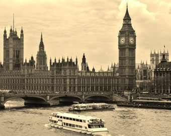 Big Ben and Parliament From Across the Thames River - London, England, United Kingdom - Sepia 8x10 Photo City Art Picture