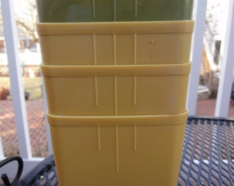 11 Harvest Gold and Avacado Green Freezer Containers