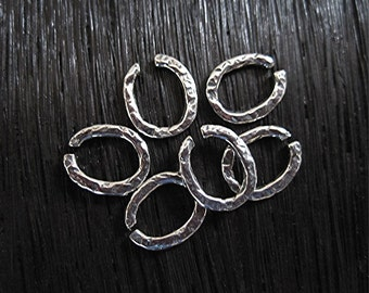 Rustic, Textured, Artisan, Sterling Silver Open Jump Rings (set of 6) (C) (N)