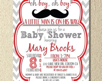 Baby Shower Invitation Chevron Mustache Red Black Grey Oh Boy Oh Boy A Little Man Is On The Way Can Customize Colors to Match DIGITAL FILE