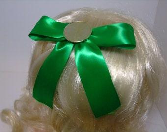 Green Clover-Coin Hair Bow