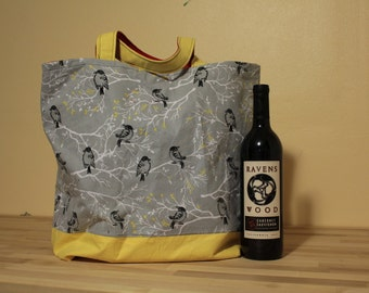 Yellow, Red and Gray--Birds and the Trees--Reusable Market Tote (free shipping!)