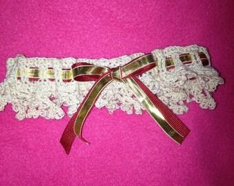 Beautiful handmade crochet wedding garter