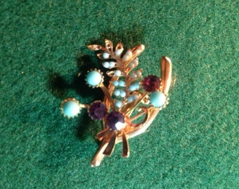Vintage Brooch with Blue and Purple Stones