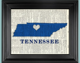 """Map-Tennessee with heart - Any State - Vintage book page art print. Print on book page. Fits 8""""x 10"""" frame."""