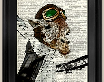 "Giraffe Sky High Pilot. Vintage book page art print. Print on book page.  Fits 8""x10"" frame."