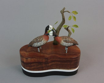 White Faced Whistling Ducks  - Miniature - Wildfowl Wood Carving - Bird Art
