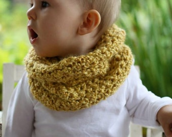 Crochet Mustard Yellow Toddler Cowl Infinity Scarf