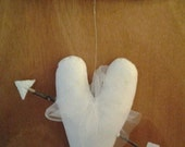 New handmade primitive stuffed white felt heart and white arrow wall hanging with white tulle bow