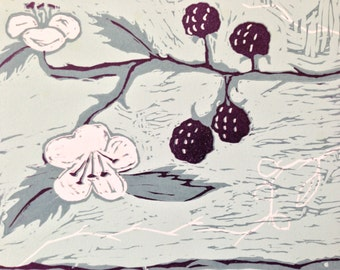 Three colour lino reduction cut print called 'Brambles with Turquoise'