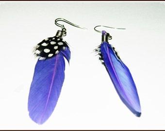 Purple feather earings