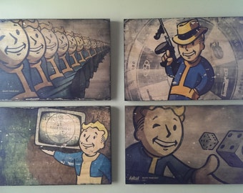 Fallout Vintage Wooden Canvas Photos / Signs (Ships free in US)