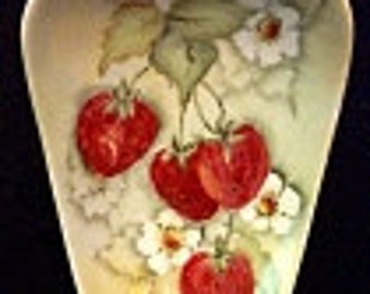 Reduced: Vintage Hand-Painted Strawberry and Blossoms China Trinket Dish signed~ K. Lowder