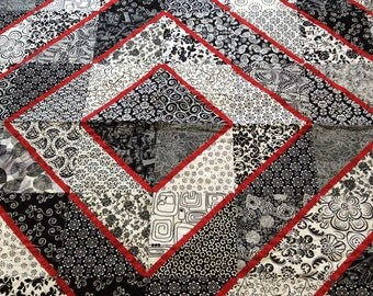 RED, BLACK & WHITE All Over. Queen Sized Handmade Quilt