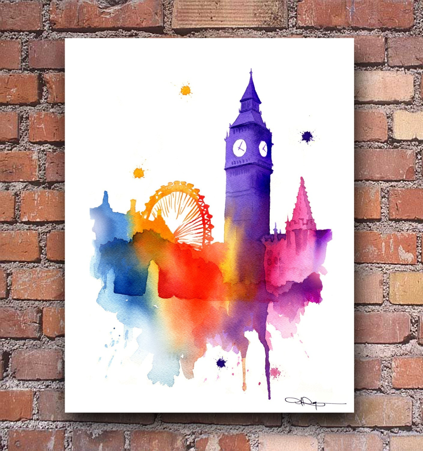 London Skyline Big Ben Watercolor Art Print Wall Decor