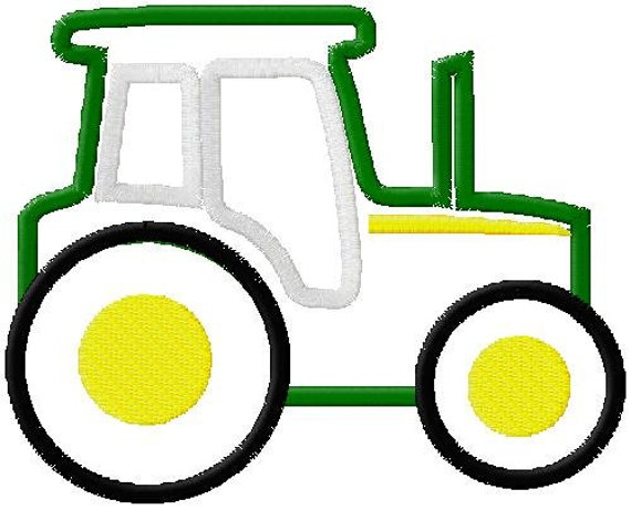 Tractor applique embroidery design