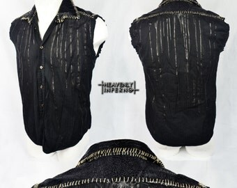 DRIP Snakeskin sleeveless SHIRT with stitches reptile distressed jacket post apocalyptic zombie Punk metal Rock Rocker Goth Emo stage wear