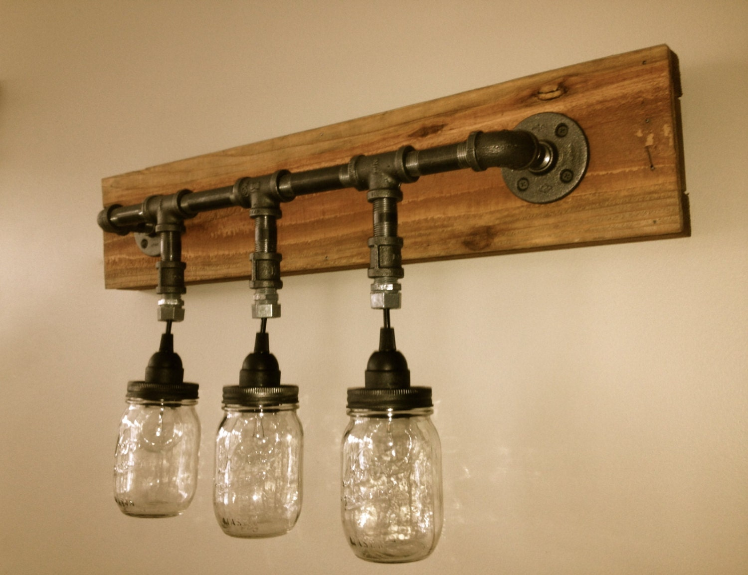 Rustic Industrial Modern Mason Jar Lights Vanity Light: Mason Jar Vanity Light Mason Jar Wall Light By ChicagoLights