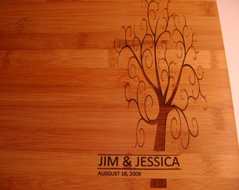 Beautiful Custom Bamboo Cutting Board - Your names and dates - Wedding, Birthday Special Gift
