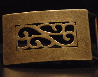 Vintage Brass Belt Buckle - For Snap Leather Belt -  Belt Buckle Brass