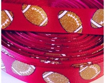 Glitter football Ribbon 7/8 in 3 yards