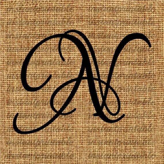 monogram initial letter n letter clip art letter decal. Black Bedroom Furniture Sets. Home Design Ideas