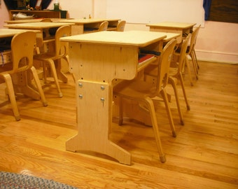 Solid wood desk crafted from Baltic Birch