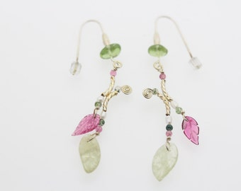 Aqua Leaves Earrings with Tourmaline
