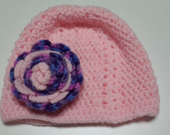 HandMade Crocheted Beanie With Removable Rose Top