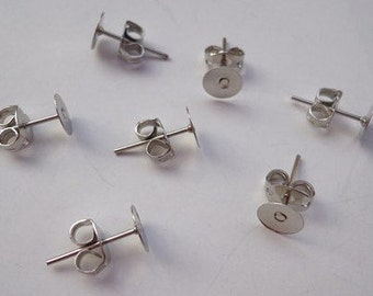 100 pairs(200 pcs) Nickel Free Surgical Steel Stud Earnuts and 6mm Flat Pads,White K Earring Posts with Back Stoppers(Nickel free ).