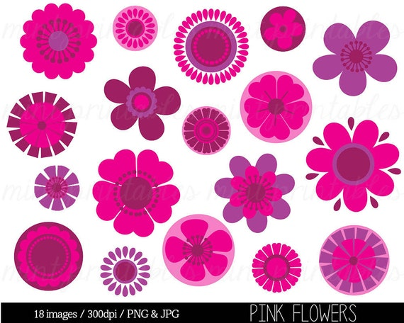 Items similar to Flower Clipart Clip Art, Pink Flowers ...
