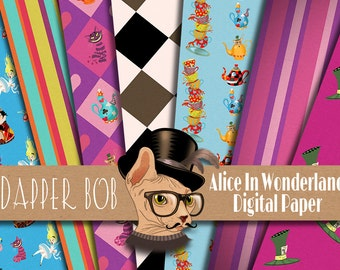 Alice in Wonderland Digital Paper Pack