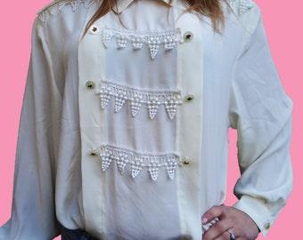 VINTAGE 80's white blouse / mark Paris in vichy.