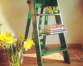 Antique brocante stepladder for painters with authentic wear