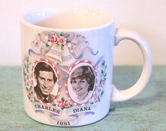 Vintage GHC Made in England Charles and Diana Commemorative 1981 Royal Wedding Mug