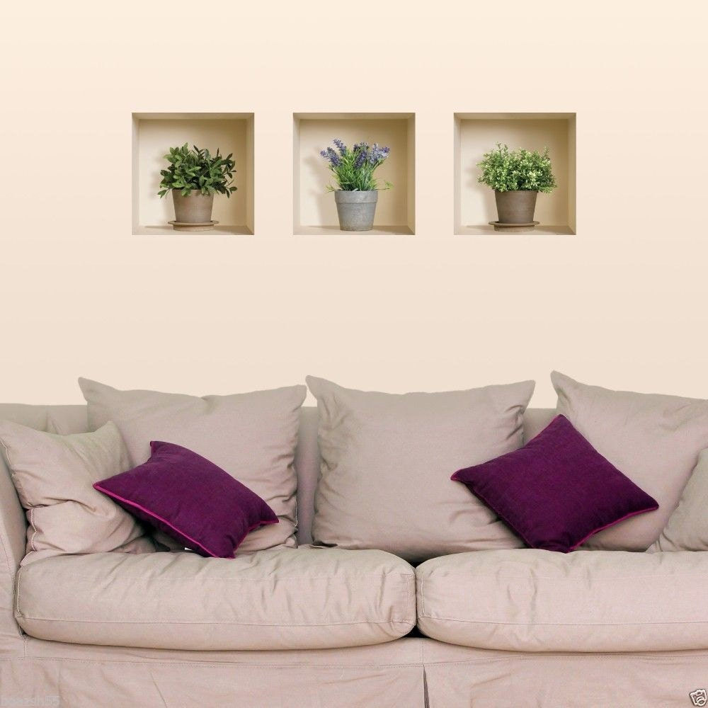 free shipping new set 3 lavender plants wall sticker 3d art. Black Bedroom Furniture Sets. Home Design Ideas