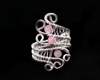 Gemstone jewlery, Pink quartz, Wire wrapped jewelry handmade, Wire Wrapped Rings,  gift ideas for women, wire wrap, wire wrapped rose quartz