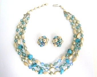 Vintage Triple Strand Beaded Necklace and Earrings Set Made in Austria 1950's / Vintage Necklace and Earrings Set