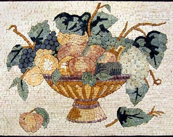 Fruits Basket Mosaic Marble Natural Stones Wall Tile Mural Kitchen BackSplash Artwork Design for Home Wall Decor - MK021