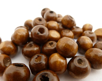 50 x Handmade Brown Wooden Beads 8mm