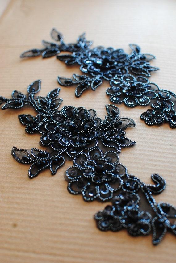 black lace appliques black beaded lace applique by fabricminx7