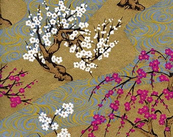 Origami Paper Pack - Traditional Japanese Yuzen/Chiyogami Paper in 6 Inch by 6 Inch (15 cm) Size - Cherry Blossom Pattern