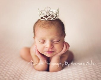 Newborn Mini Crown Photo Prop Silver Crystal Rhinestone Photography Props Heart #4006