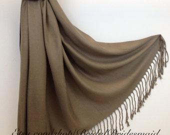 MOCHA PASHMINA - mocha shawl - bridal scarf - bridal shawl - bridesmaid gift - wedding gift - scarf - shawl - gift -