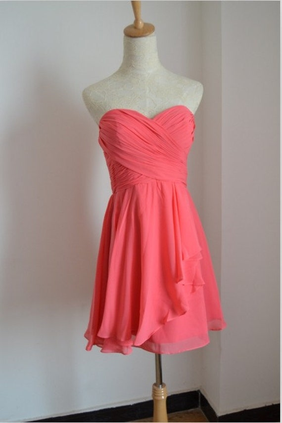 Pretty Watermelon Knee Length Chiffon Bridesmaid Dresses/ Knee Length dresses/Party dresses
