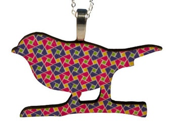 Wooden bird necklace with chain- geometric squares