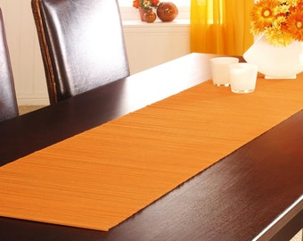 Bamboo Table Runner/Orange Bamboo Table Runner/ Modern  Bamboo Table Runner/Handmade Table Runner /150X40 Size Table Runner/