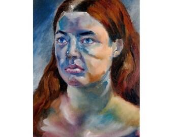 Brunette & Blue, original oil painting woman's portrait